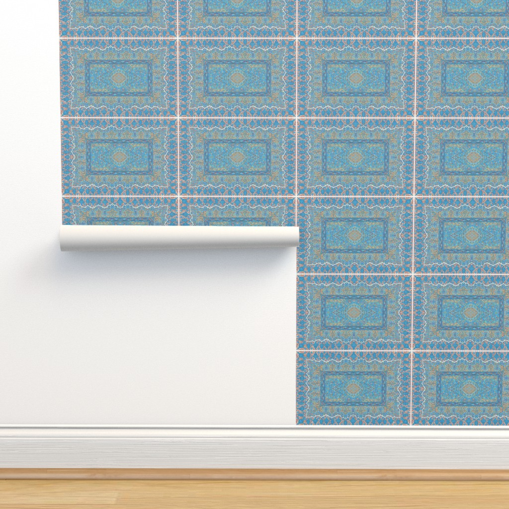 Isobar Durable Wallpaper featuring persian knot tea towel turquoise by keweenawchris