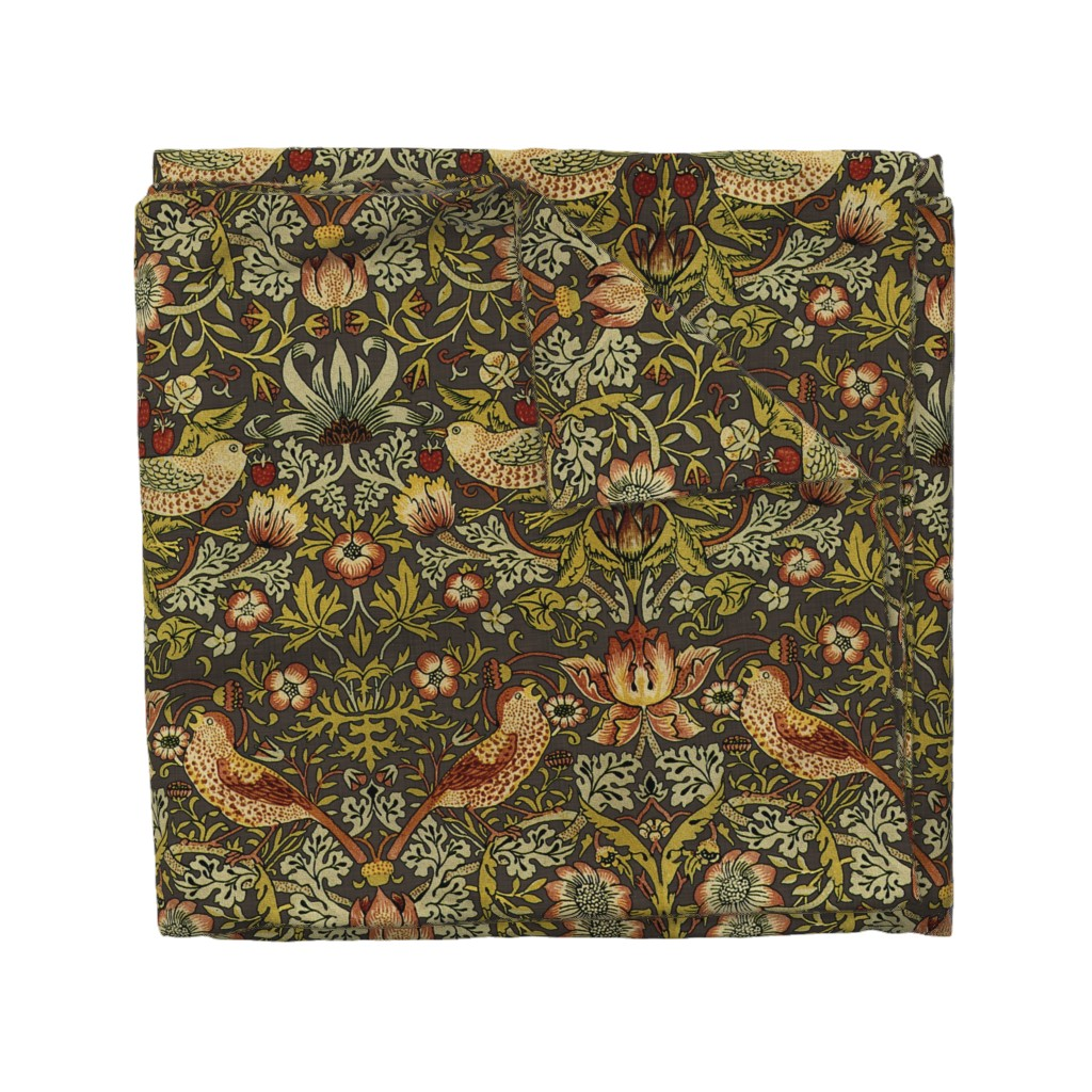 Wyandotte Duvet Cover featuring William Morris ~ Strawberry Thief ~ Autumn Linen by peacoquettedesigns