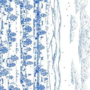 Bright Indigo Blue Greyhound Toile Panel/Border ©2010 by Jane Walker