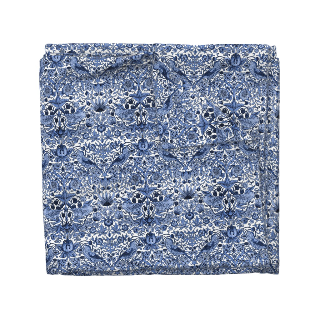Wyandotte Duvet Cover featuring William Morris ~ Strawberry Thief ~ Blue and White by peacoquettedesigns