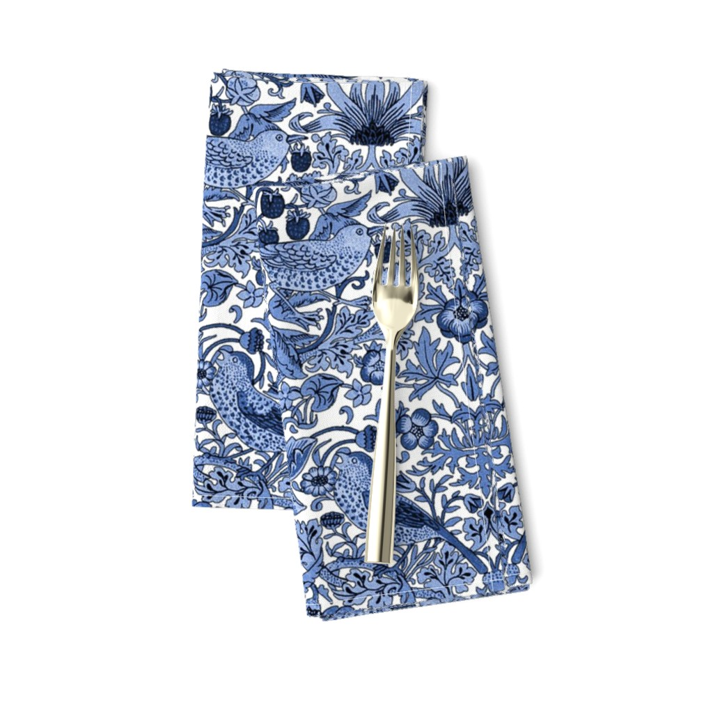 Amarela Dinner Napkins featuring William Morris ~ Strawberry Thief ~ Blue and White by peacoquettedesigns