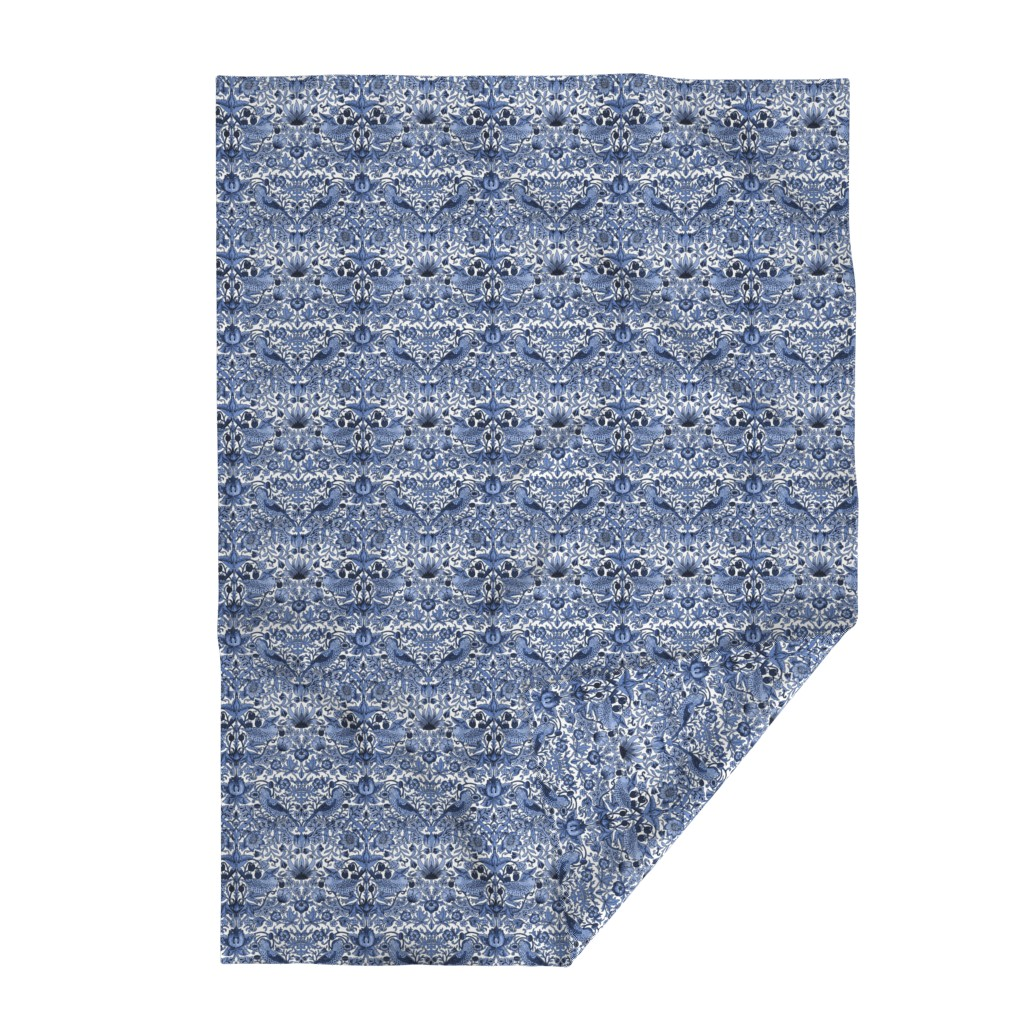 Lakenvelder Throw Blanket featuring William Morris ~ Strawberry Thief ~ Blue and White by peacoquettedesigns