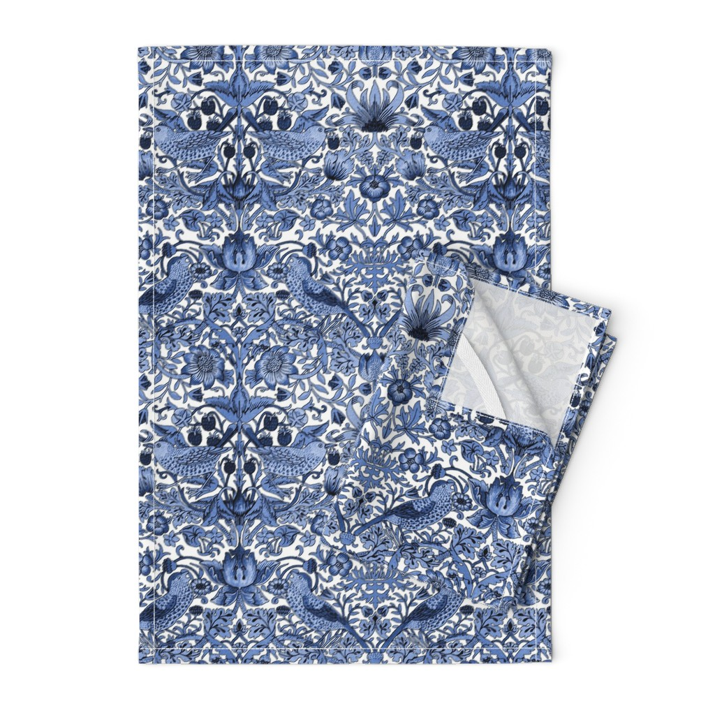 Orpington Tea Towels featuring William Morris ~ Strawberry Thief ~ Blue and White by peacoquettedesigns
