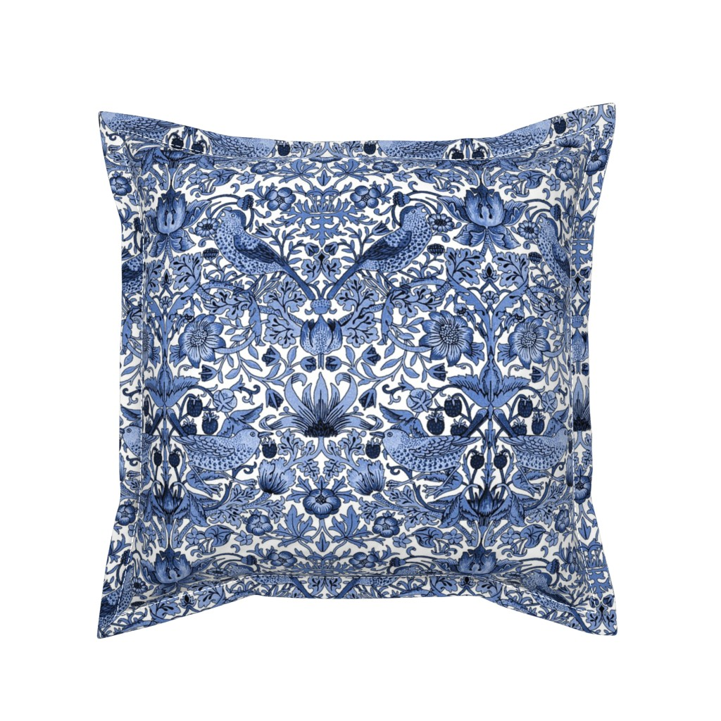 Serama Throw Pillow featuring William Morris ~ Strawberry Thief ~ Blue and White by peacoquettedesigns