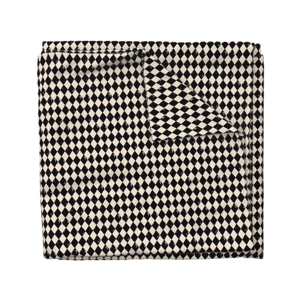 Wyandotte Duvet Cover featuring Black and Light Cream Harlequin Diamonds by bohobear