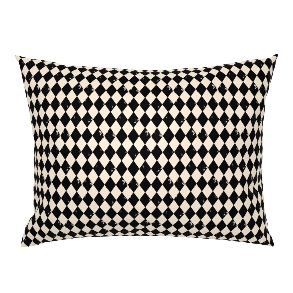 Campine Pillow Sham featuring Black and Light Cream Harlequin Diamonds by bohobear