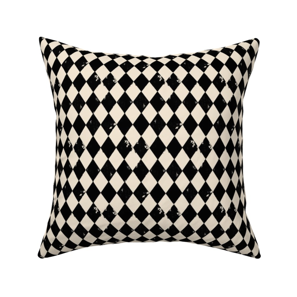 Catalan Throw Pillow featuring Black and Light Cream Harlequin Diamonds by bohobear