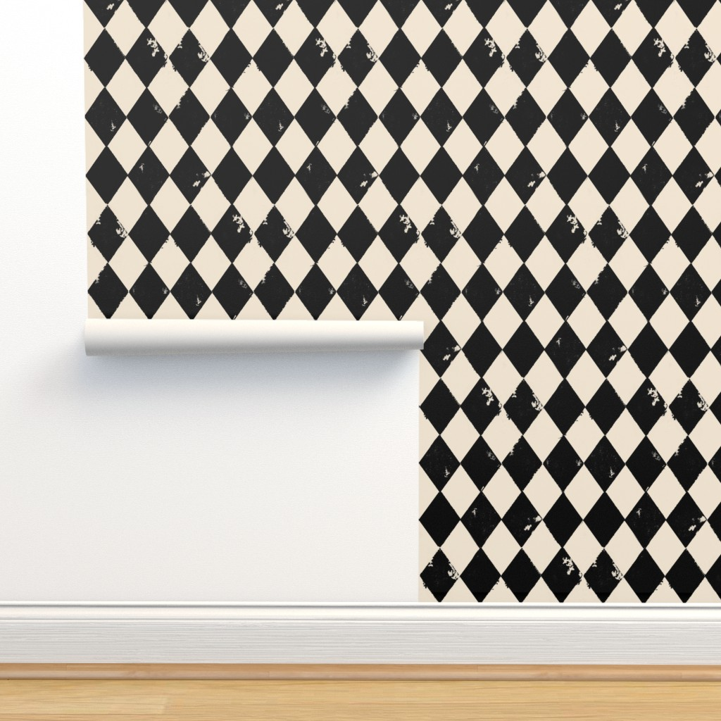 Isobar Durable Wallpaper featuring Black and Light Cream Harlequin Diamonds by bohobear