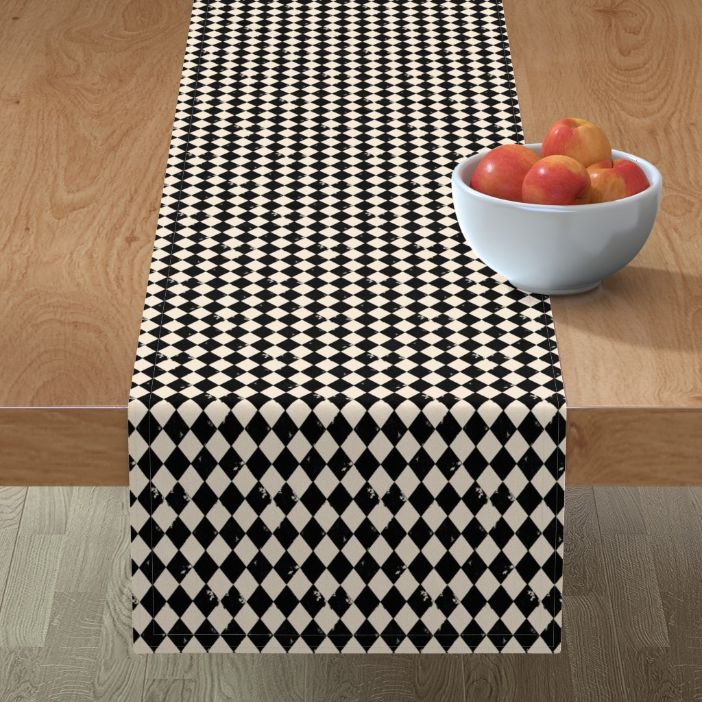 Minorca Table Runner featuring Black and Light Cream Harlequin Diamonds by bohobear
