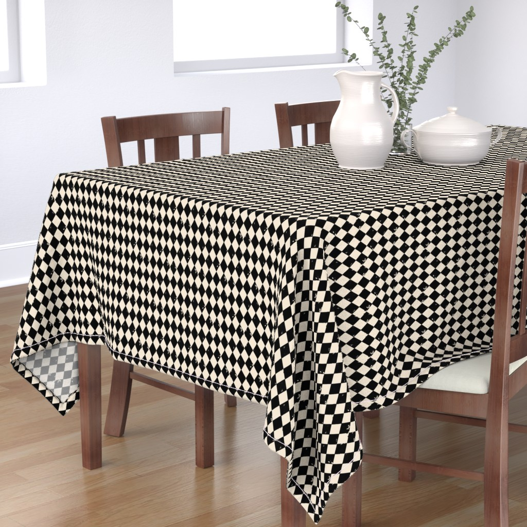 Bantam Rectangular Tablecloth featuring Black and Light Cream Harlequin Diamonds by bohobear