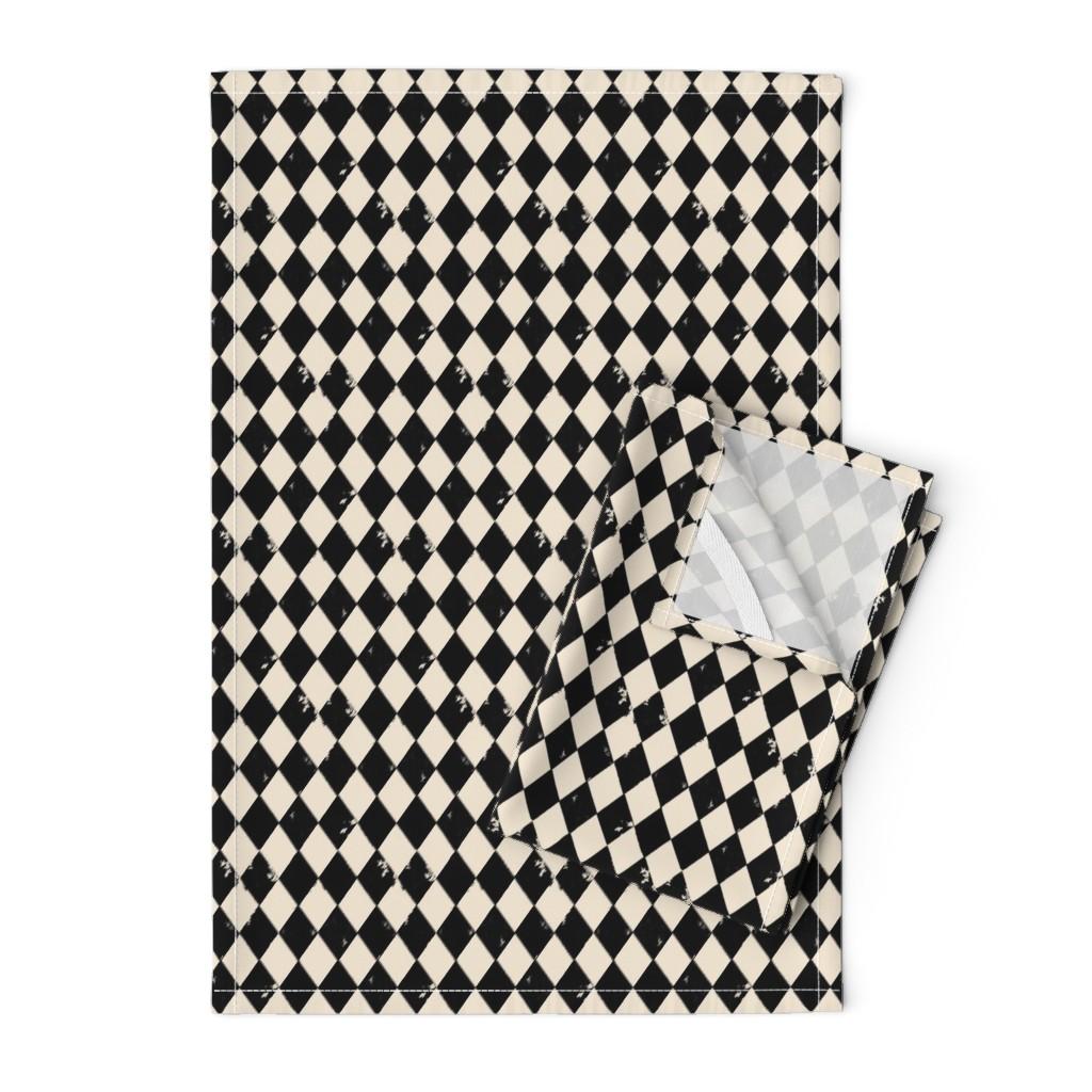 Orpington Tea Towels featuring Black and Light Cream Harlequin Diamonds by bohobear