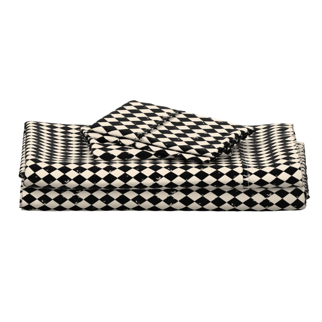 Langshan Full Bed Set featuring Black and Light Cream Harlequin Diamonds by bohobear
