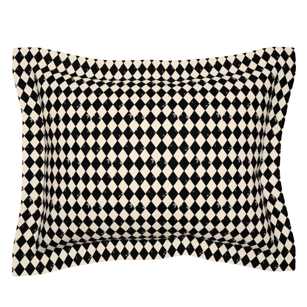 Sebright Pillow Sham featuring Black and Light Cream Harlequin Diamonds by bohobear