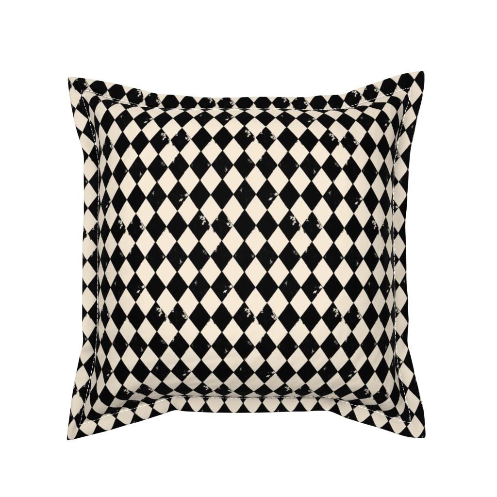 Serama Throw Pillow featuring Black and Light Cream Harlequin Diamonds by bohobear