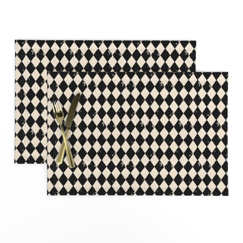 Lamona Cloth Placemats featuring Black and Light Cream Harlequin Diamonds by bohobear