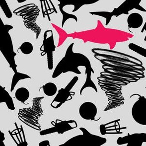 Sharks and Tornados Black and White with Pink