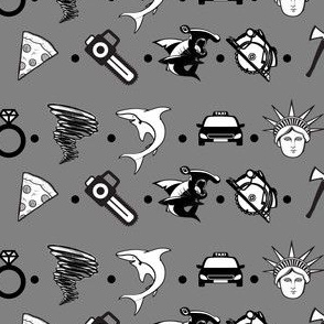 Sharks and Tornados Polka Dot Grey