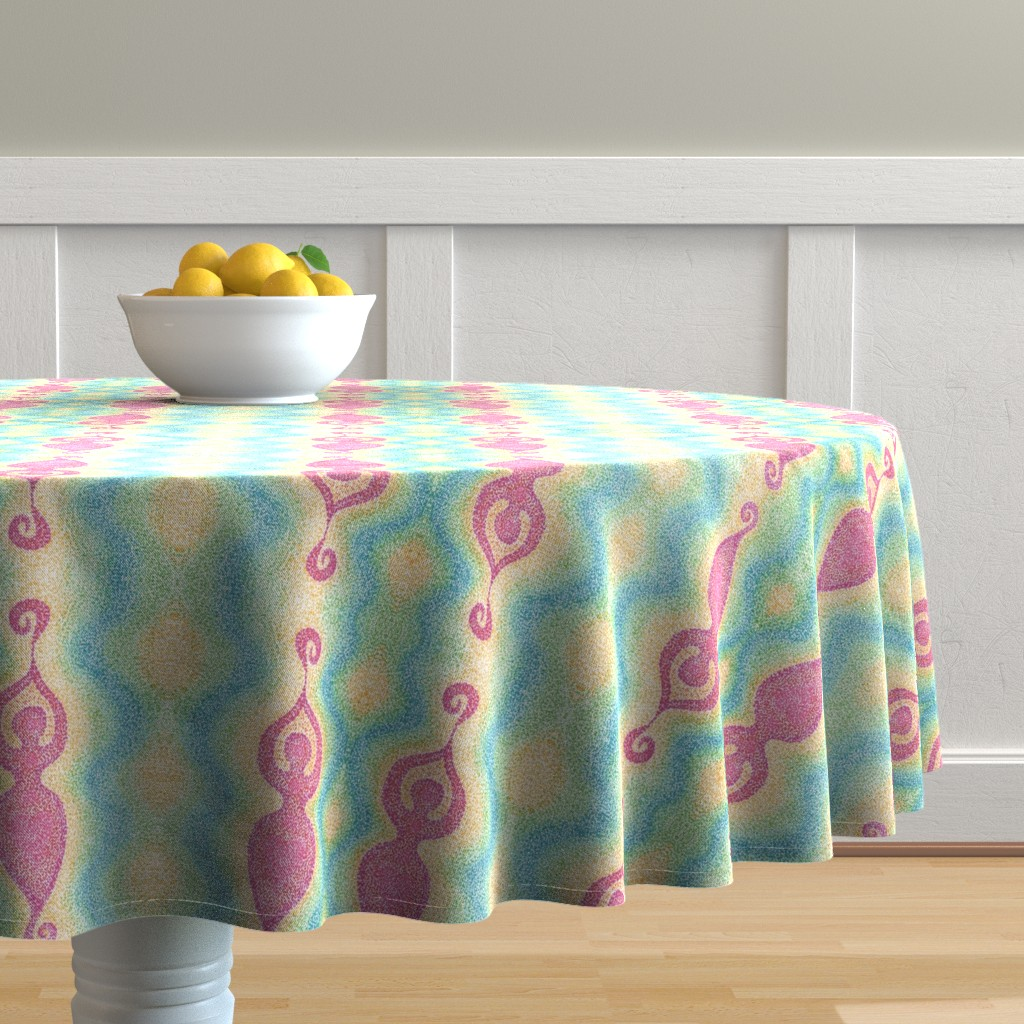 Malay Round Tablecloth featuring Goddess by katiame