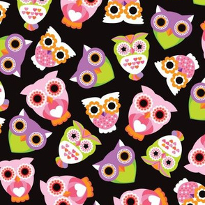 Colorful violet and green retro owls illustration girls pattern