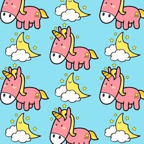 Cute Pink Baby Unicorn In Blue