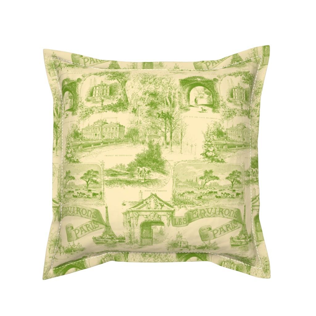 Serama Throw Pillow featuring Les Environs de Paris ~ Toile de Jouy ~ Bracken on Trianon Cream by peacoquettedesigns