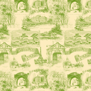 Les Environs de Paris ~ Toile de Jouy ~ Bracken on Trianon Cream