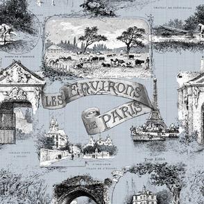 Les Environs de Paris ~ Toile de Jouy ~ Versailles Fog ~ Linen Luxe