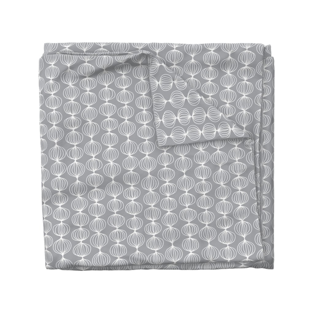 Wyandotte Duvet Cover featuring mod ogee - grey by kristinnohe