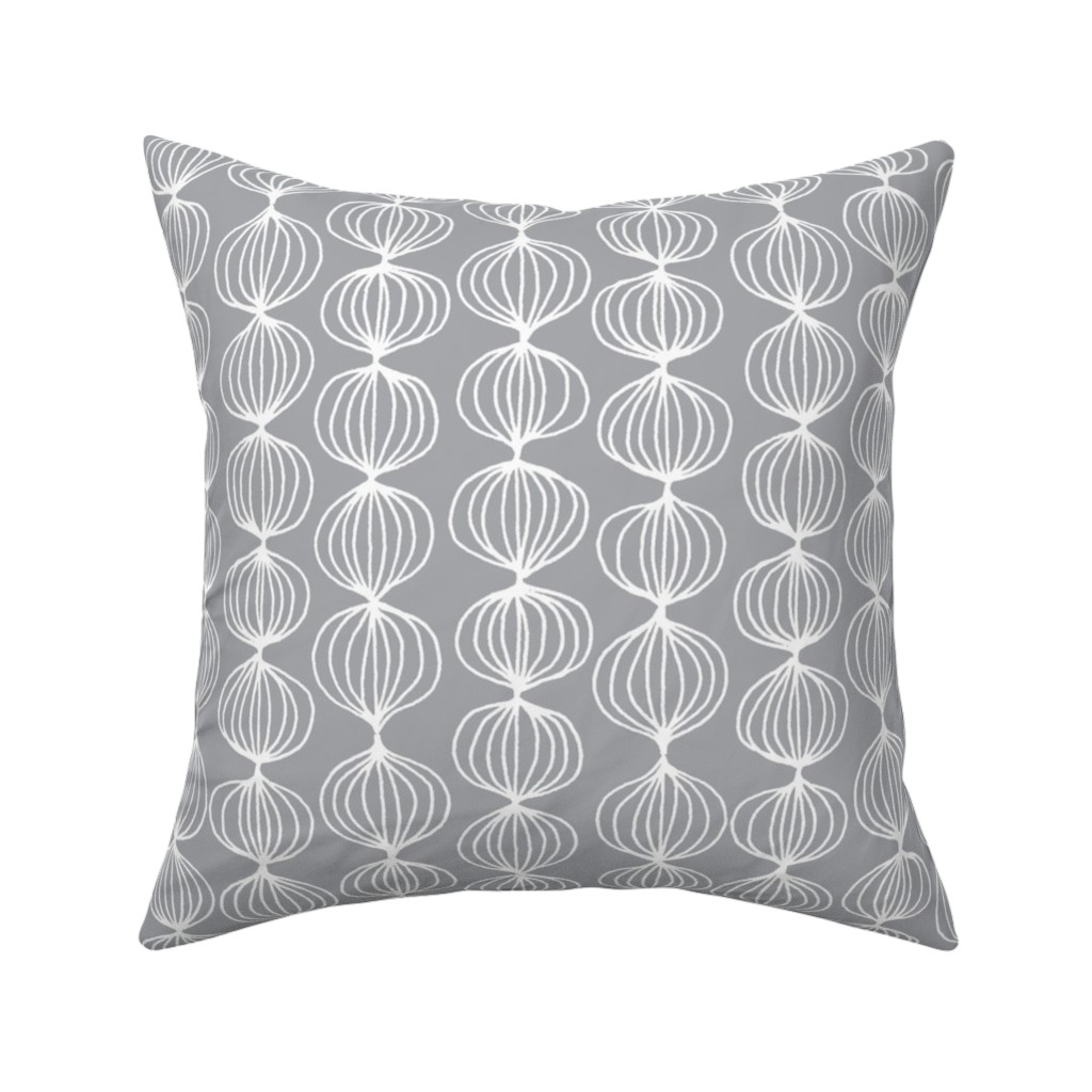 Catalan Throw Pillow featuring mod ogee - grey by kristinnohe