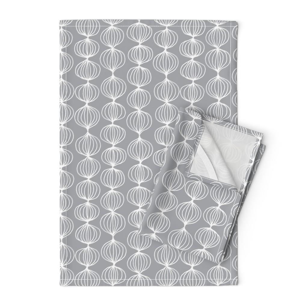 Orpington Tea Towels featuring mod ogee - grey by kristinnohe