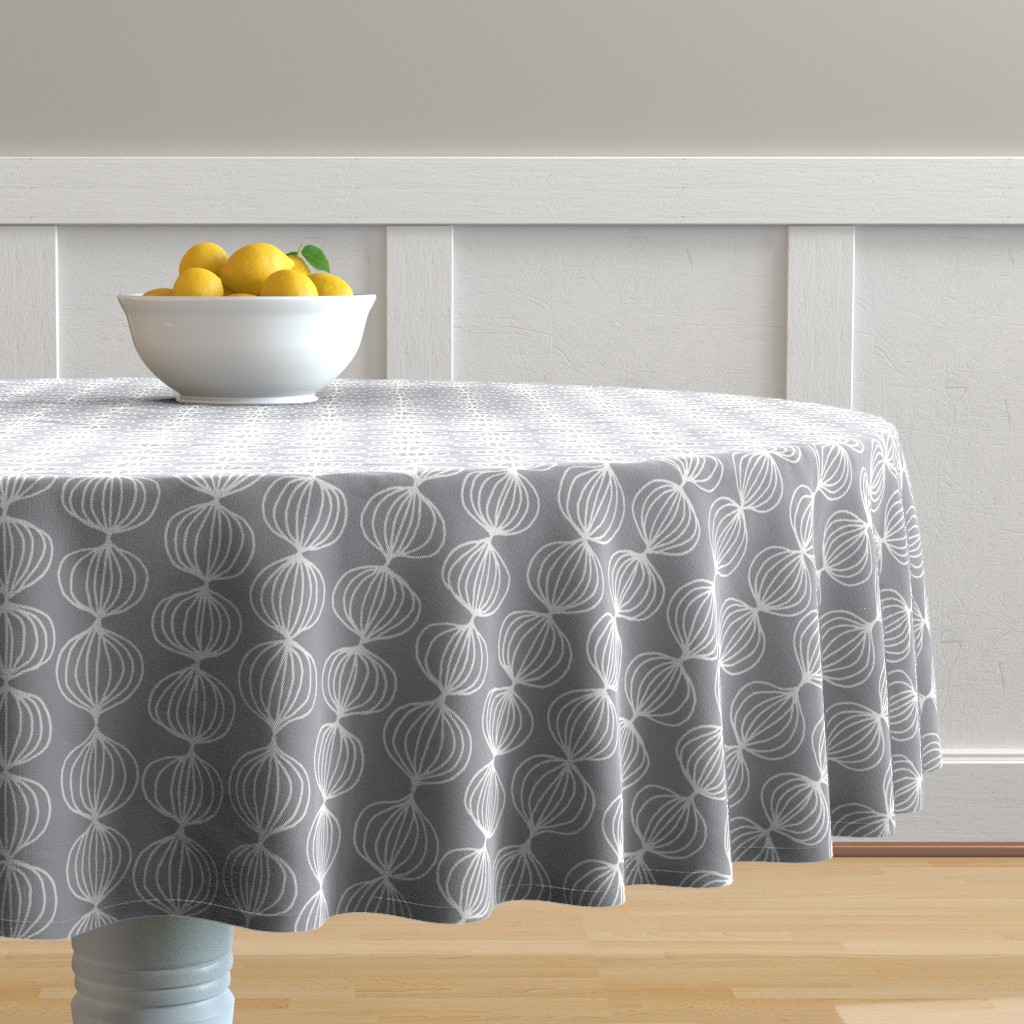 Malay Round Tablecloth featuring mod ogee - grey by kristinnohe