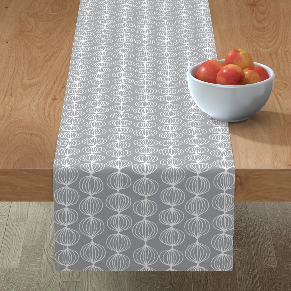 Minorca Table Runner featuring mod ogee - grey by kristinnohe