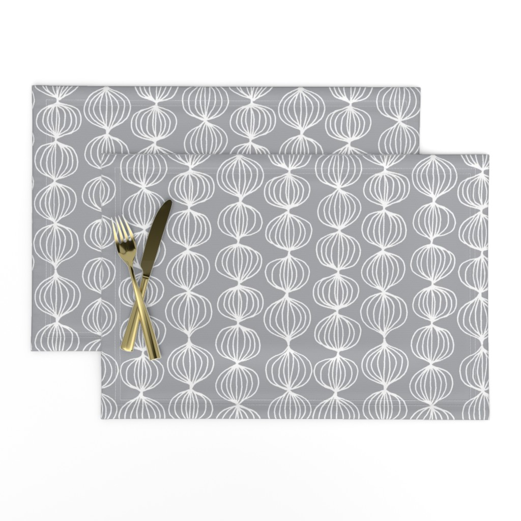 Lamona Cloth Placemats featuring mod ogee - grey by kristinnohe