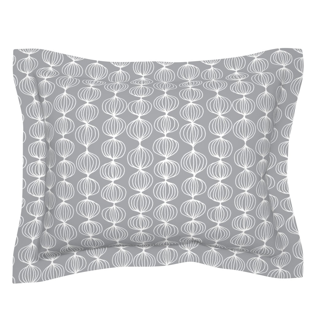 Sebright Pillow Sham featuring mod ogee - grey by kristinnohe