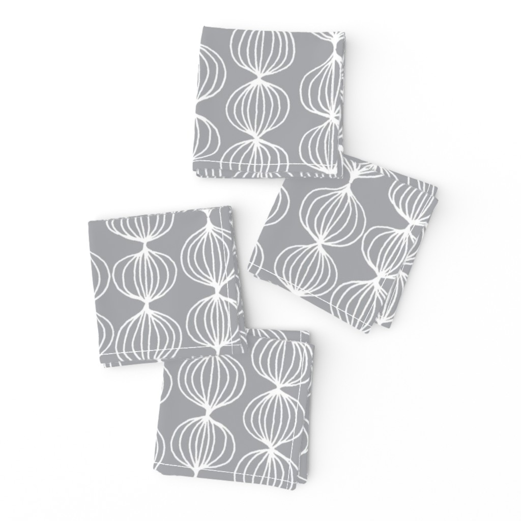 Frizzle Cocktail Napkins featuring mod ogee - grey by kristinnohe