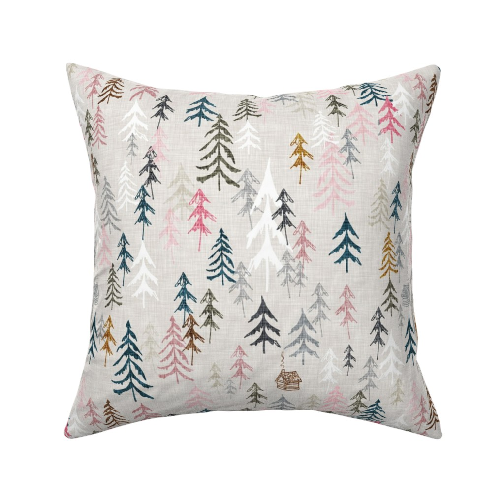 Catalan Throw Pillow featuring Solitude (pink) MED by nouveau_bohemian