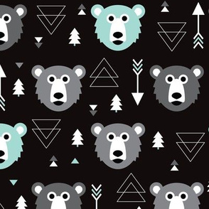 Geometric grizzly bear woodland illustration pattern