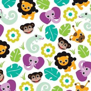 Exotic jungle animals lion lizard elephant and monkey illustration print