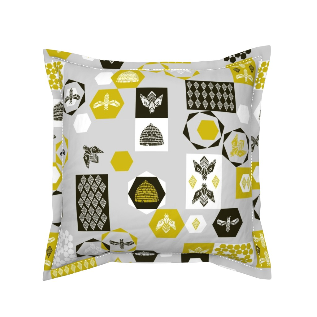 Serama Throw Pillow featuring Bees Block - Grey Background by Andrea Lauren by andrea_lauren