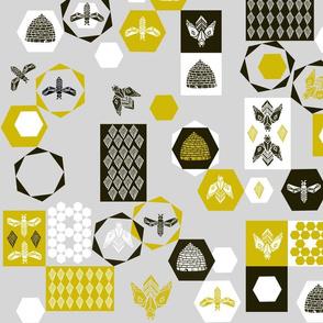 Bees Block - Grey Background by Andrea Lauren