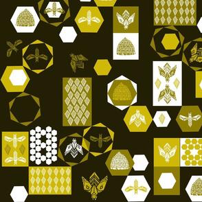Bees Block - Dark Background by Andrea Lauren