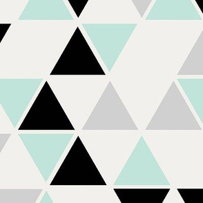 Double scale triangles, cool mint, black and gray