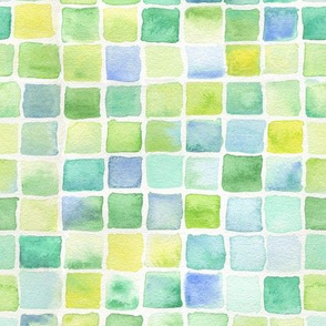 watercolor squares - green, yellow, aqua, blue