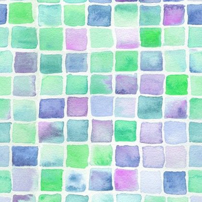 watercolor squares - green, aqua, blue, purple