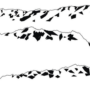 Geometric Mountains Black & White