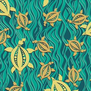 Sea turtles on jade