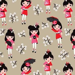 Geisha cherry blossom japan print