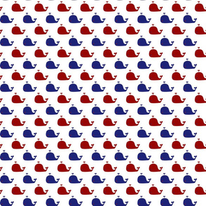 Preppy Red White and Blue Whales