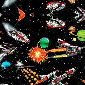 vintage retro kitsch science fiction futuristic spaceships rockets planets space galaxy shuttle Saturn moon pop art battles UFO