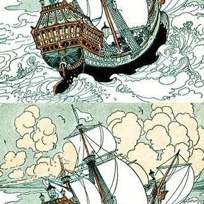 vintage retro ships nautical transportation sea ocean sailing boats waves clouds victorian